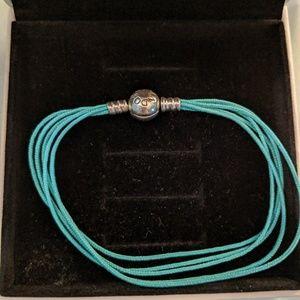 Authentic Pandora Teal Fabric Cord Bracelet